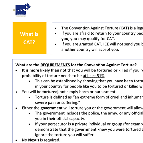 Protections Under the Convention Against Torture – English