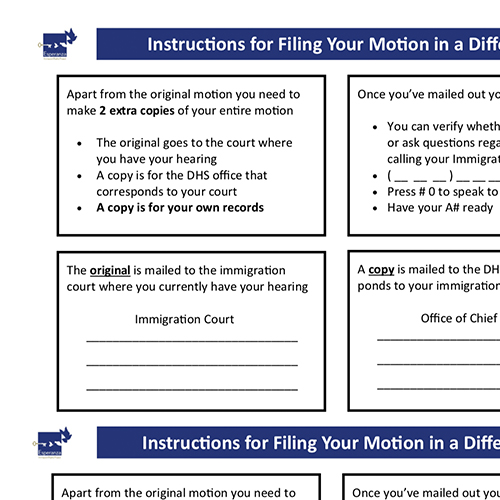 Instructions for Filing Motions to a Different Court – English