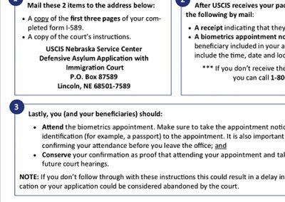 USCIS Asylum Biometrics Instructions – English