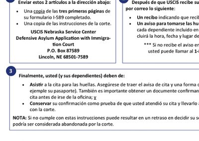 USCIS Asylum Biometrics Instructions – Spanish