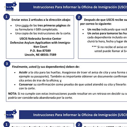 USCIS Asylum Biometrics Instructions – Spanish
