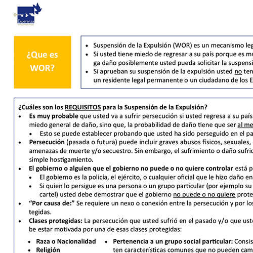Withholding of Removal Summary – Spanish