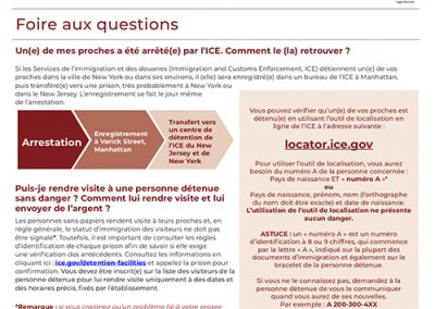 ICE Detained Flyer – French