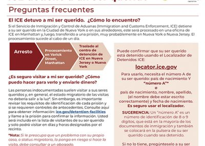 ICE Detained Flyer – Spanish