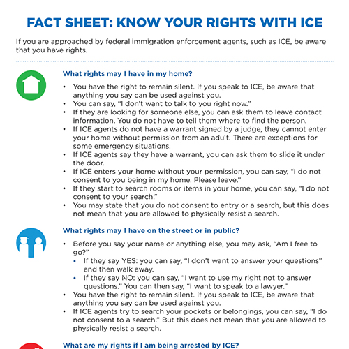 MOIA Know Your Rights Flyer for ICE Interactions