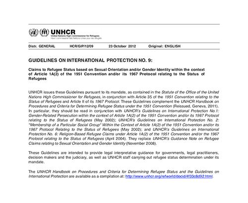 UNHCR Guidance on LGBT Refugees 2016